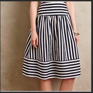 Anthropologie Skirts - Anthropologie Maeve Navy White midi skirt